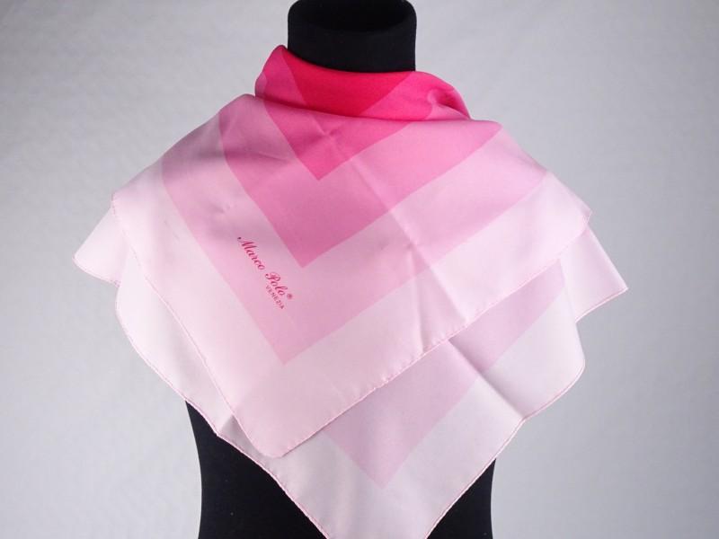 Marco Polo Venezia gemerkte grote vierkante zijde sjaal. (75cm op 75 cm.)