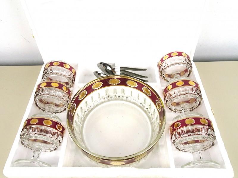 Vintage glazen dessert set