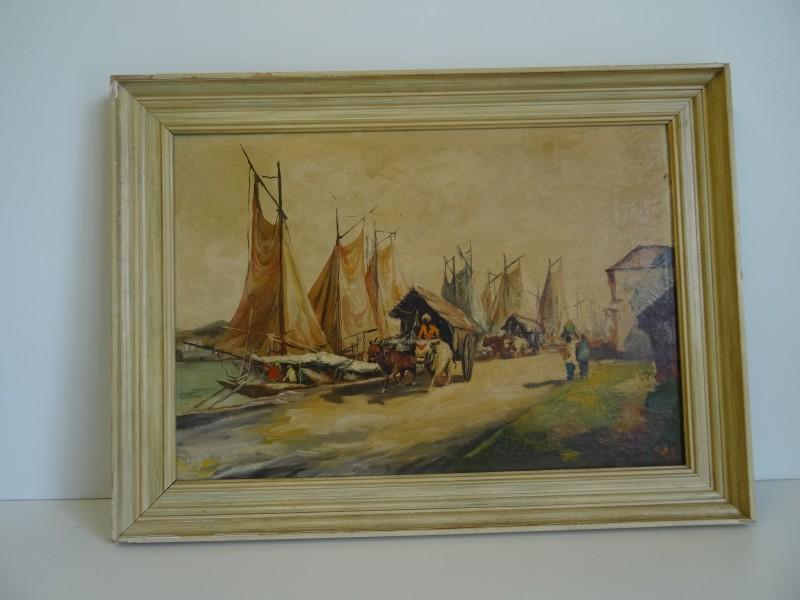 Cas: schilderij van havenzicht