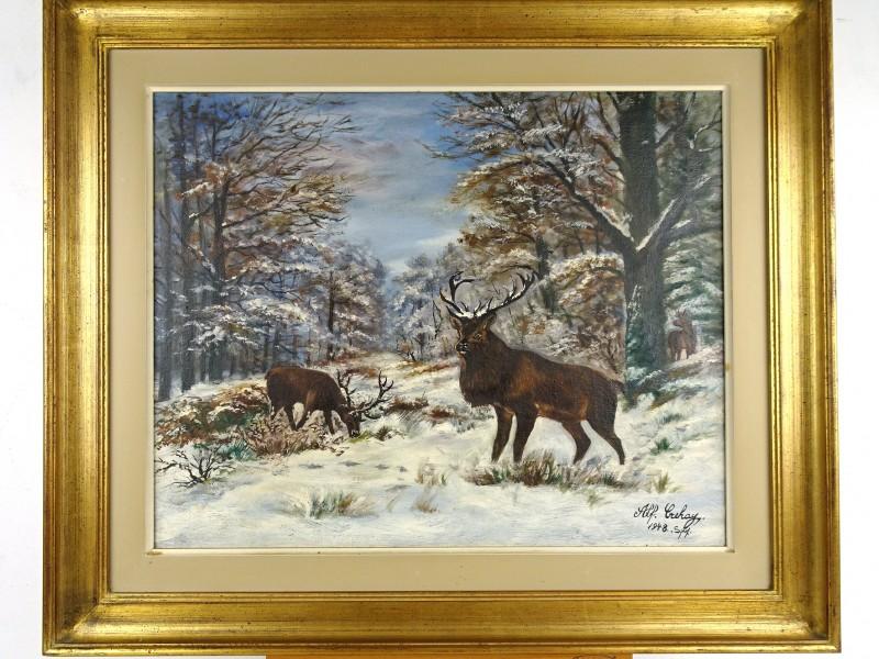 Vintage schilderij (Alf. Crehay 1948 Spa)