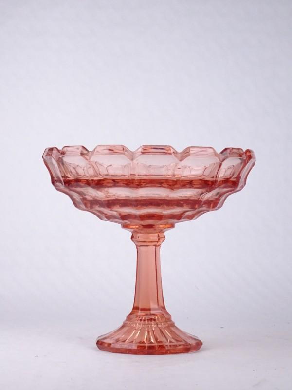 Vintage Rosaline glazen schaal op hoge voet. Gestempeld BELGE.