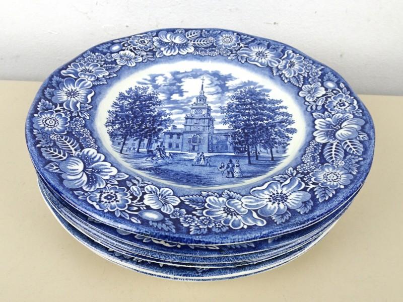 Blauw/wit aardewerk borden (England)