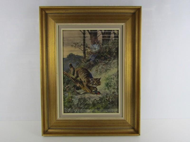 Schilderij, E. Heller, Katachtige vangt Fazant, Houten Kader