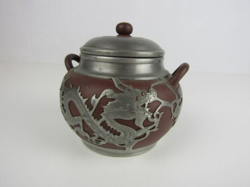 Chinees Potje met Deksel, Drakenmotieven, Aardewerk en Metaal