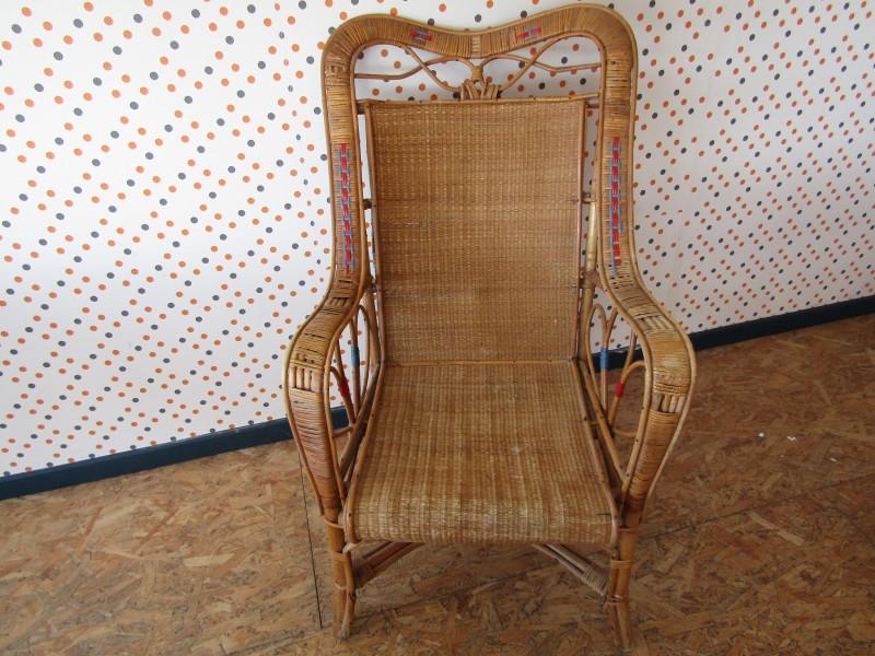 Vintage Loungestoel in Rotan