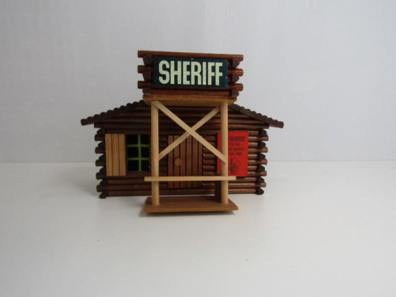 Vintage Houten Speelgoed, Oehme & Söhne, sherrif-house, western
