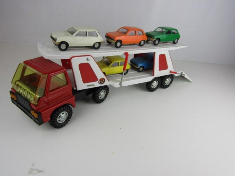 Vintage speelgoed, Autotransporter met 5 Auto's (Renault R - 5), Made in Spain