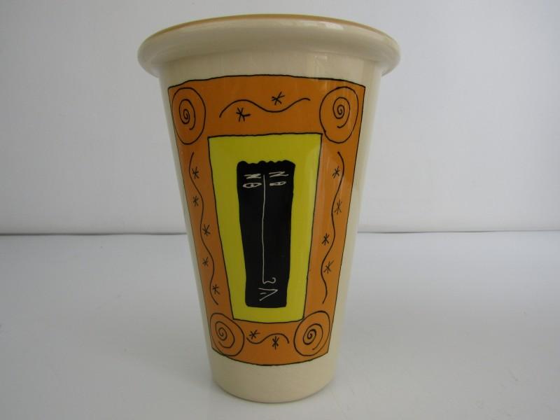Vaas van Potterie Gemovers / Design P.G. Olsson, Beige-oranje
