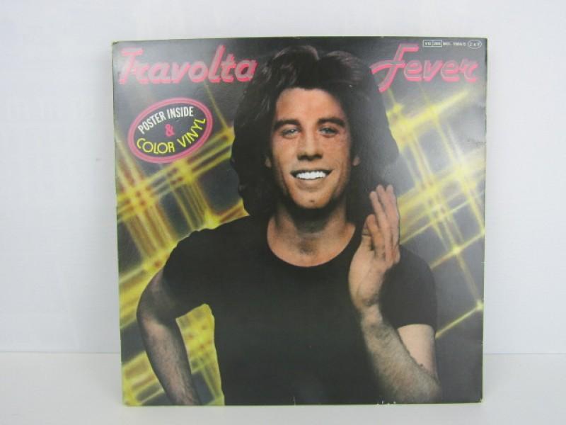 LP Dubbel, John Travolta, Travolta Fever, 1976, Gekleurd Vinyl met Poster