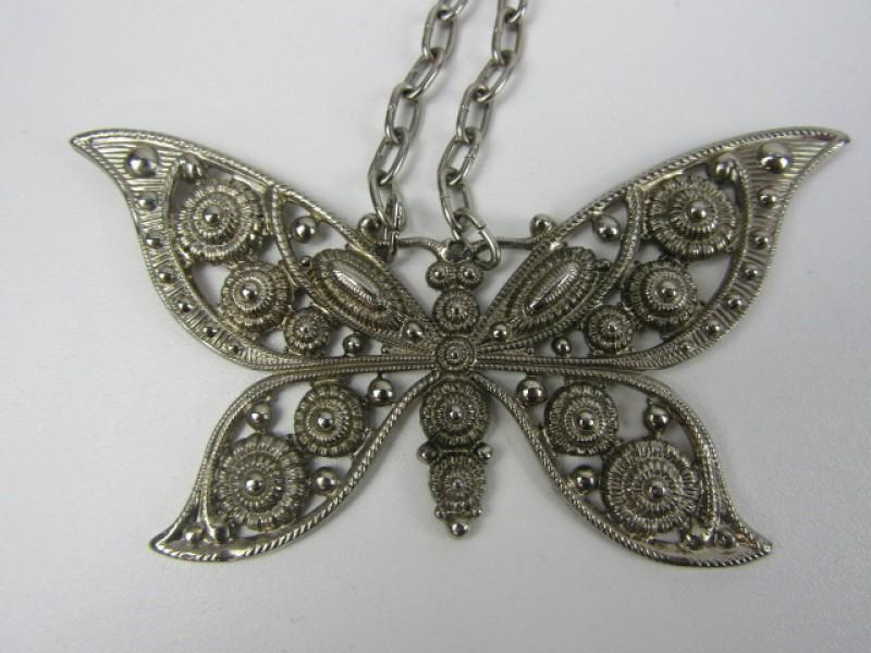 Halsketting, Zilverkleurig, Vlinder