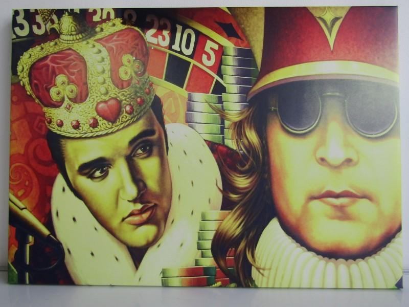 Canvas Pop Art Schilderij: John Lennon en Elvis Presley