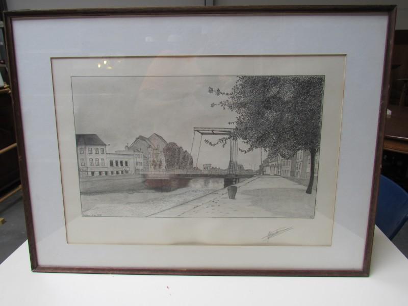 Tekening van de Bogaertsbrug te Dendermonde