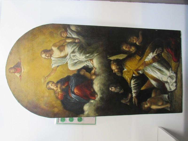 Houten paneel met bijbels tafereel  (middelgroot)