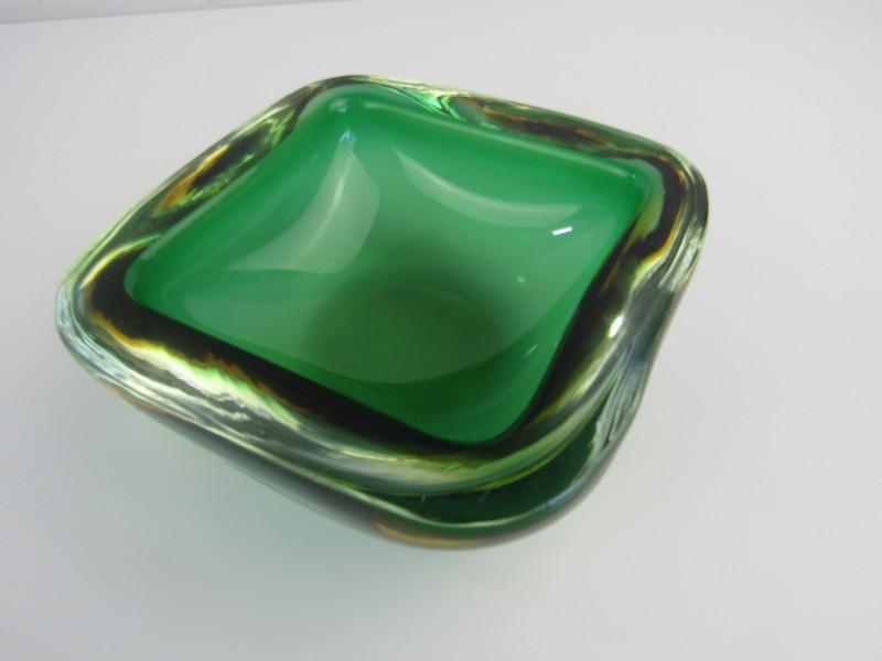 Geode Schaal: Murano, Groen met Geel, Jaren '50 / '60