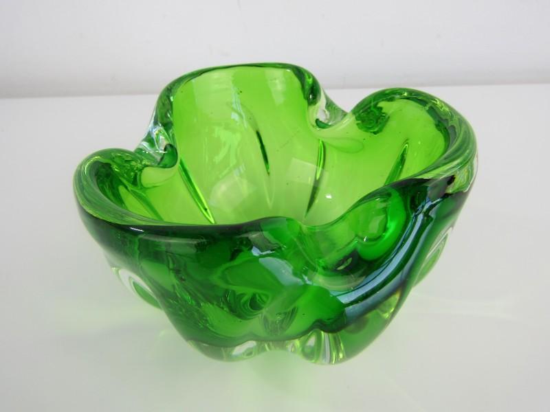 Groene Kommetje / Asbak: Jaren '70 Murano stijl