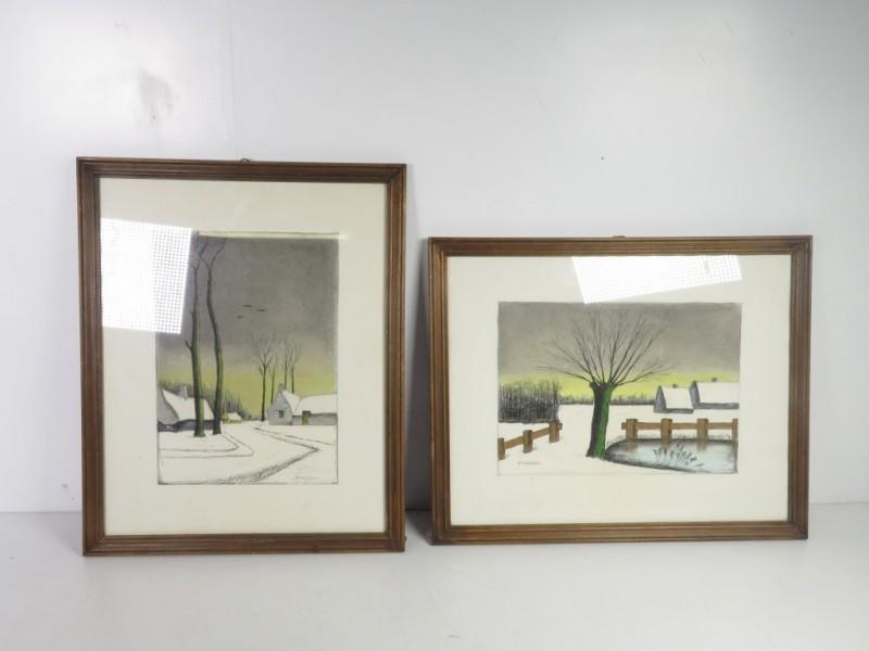 Set van 2 schetsen gemerkt De Gruyter