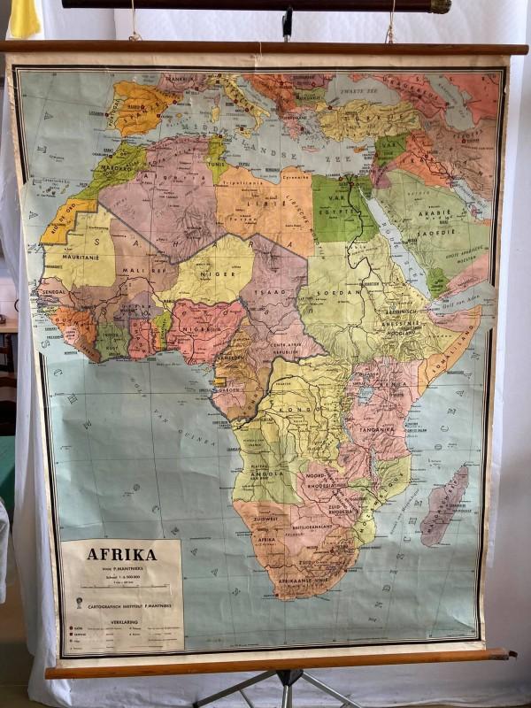 Oude schoolkaart van het Afrikaanse continent