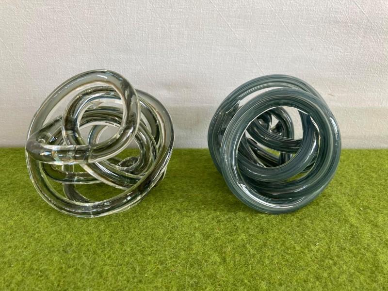 2 glazen decoratieve vormen (Pomax Graph)