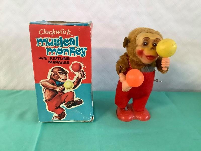 Vintage speelgoed: Clockwork Musical Monkey