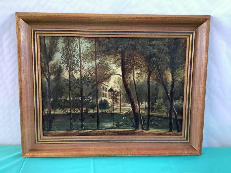 Schilderij van een huis in de natuur