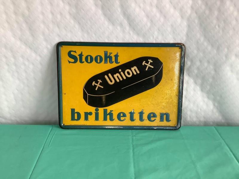 Antiek Reclamebord: Stookt Union briketten (1939)