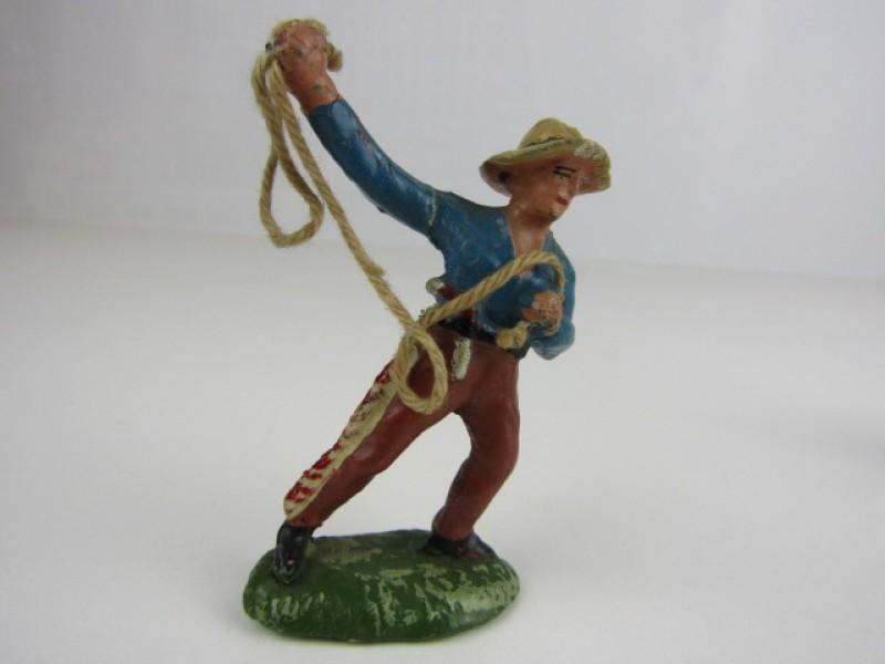 Vintage speelgoedfiguurtjes, Cowboy en Indiaan, Solido Belge