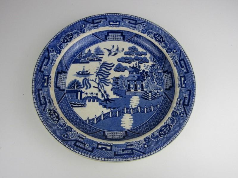 Antiek Bord, Faience, Delfts Blauw, Oosterse Motieven, Capellemans, Bruxelles