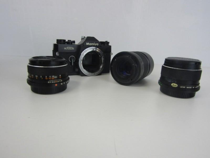 Spiegelreflexcamera, Analoog, Mamiya NC1000s, 3 Lenzen, Koffer