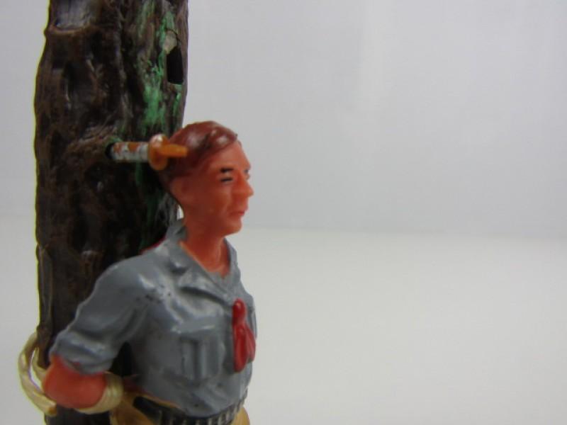 Retro Speelgoed, Totem, Gebonden Cowboy, Elastolin, Germany