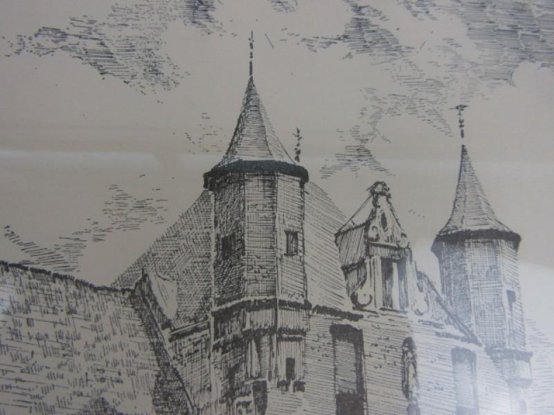 Afdruk Ets, gelimiteerd, 'de Halle' Oud Mechelen, 47/200