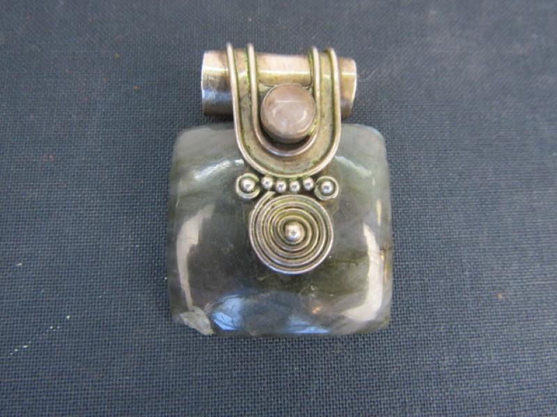 Vintage Hangjuweel, 925 Zilver, Rechthoekige Natuursteen