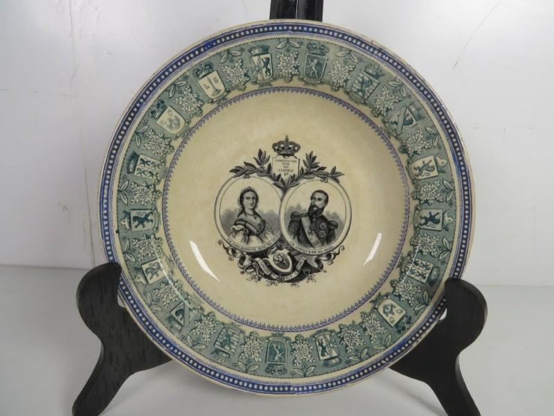 Bord keramis met afbeelding van Leopold II en Marie-Henriette