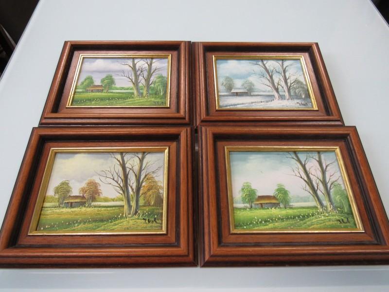 4 seizoens schilderijtjes ( J. Kok )