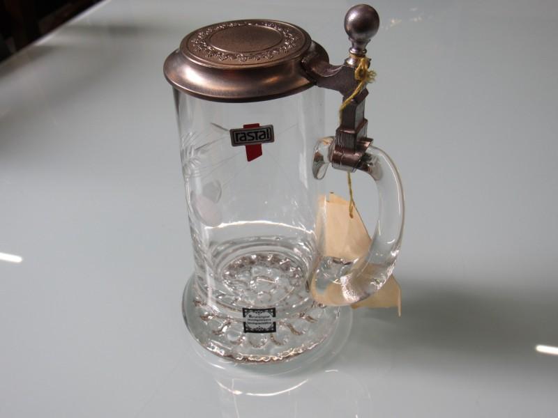 Bierpul van kristalglas - mondgeblazen - met tinnen deksel