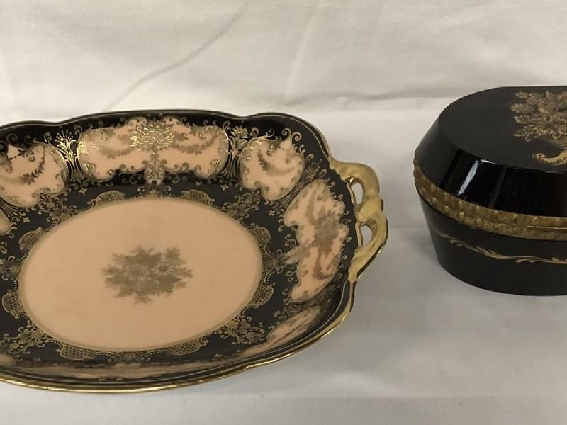 Decoratie set in zwart-goud
