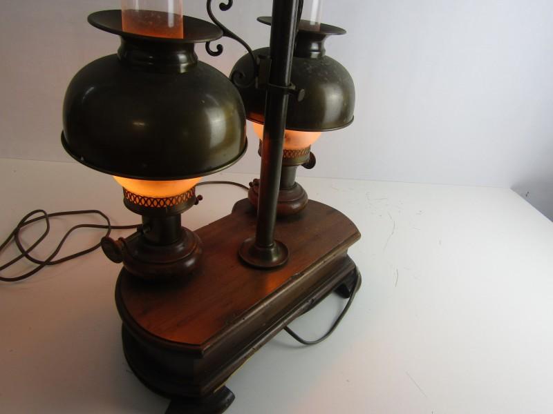 Rustieke Staande Lamp, Olielampjes, Massief Hout en Koper, Werkend