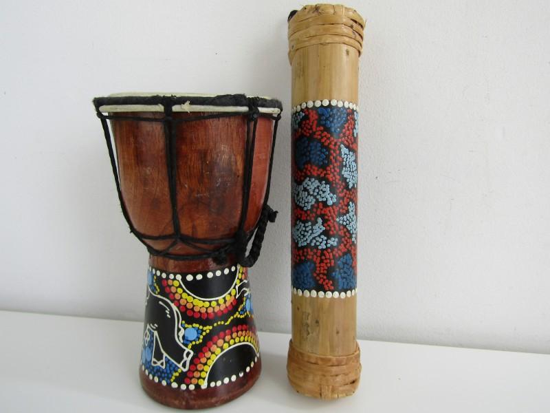 Mini Djembe + Mini Regenmaker, Aboriginal
