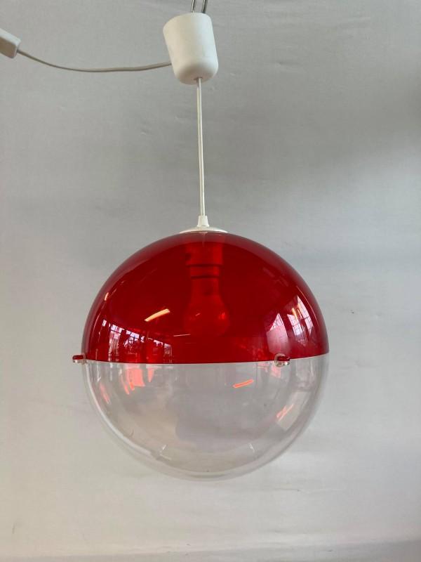 Vintage plastic bolvormige hanglamp