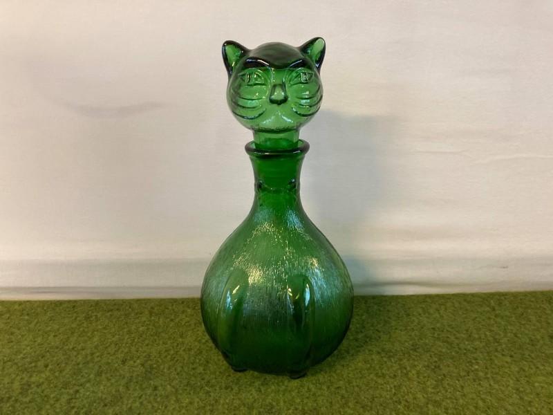 Groene glazen fles in de vorm van een kat (Empoli)