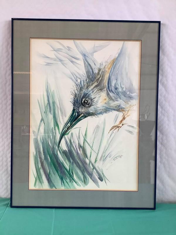Aquarelle / Pastel van een vogel door Hilde Van de Walle