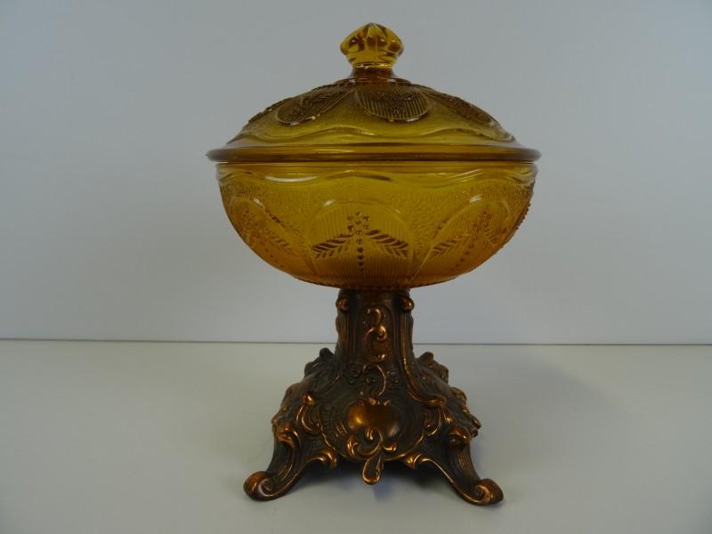 Art-Nouveau glazen schaal op koperen voet P.P. & Cie Herstal