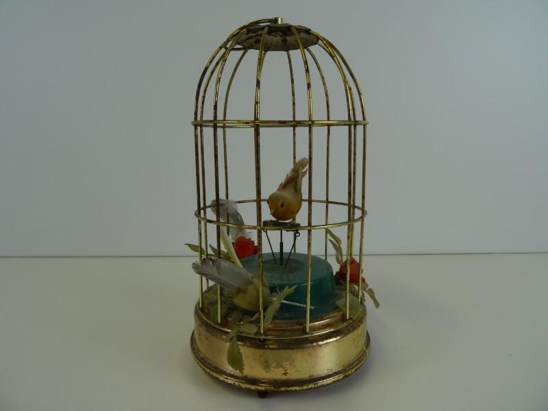 Vintage speeldoos vogelkooi
