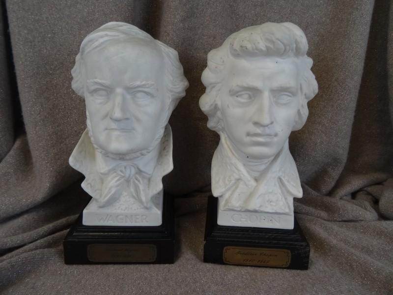 2 Borstbeelden van Goebel Wagner en Chopin