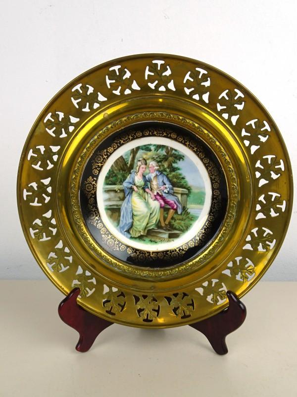 Porseleinen/koperen bord (Regency)