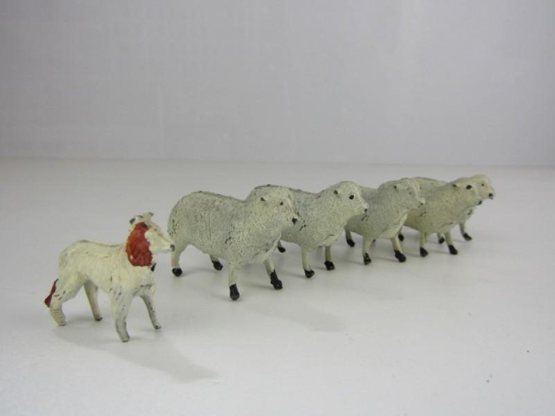 Speelgoedfiguurtjes, Schapen met Herdershond, Metaal, Made in England