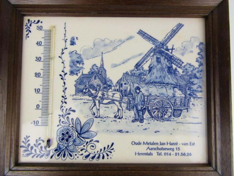 Kader Delfts Blauw, met Thermometer, Oude Metalen Harzé - van Est, Herentals