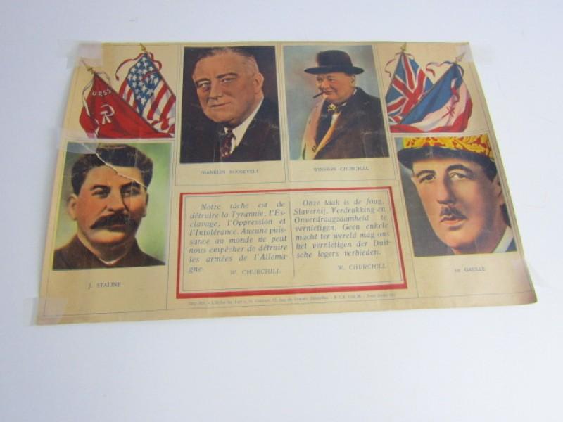 Document WO 2, Churchill, Roosevelt, Stalin, De Gaulle