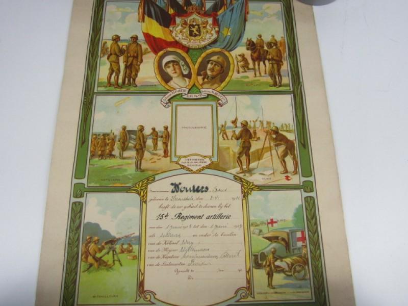 Document Belgisch Leger, Eerbewijs Diensttijd 15de Regiment Artillerie, 1923