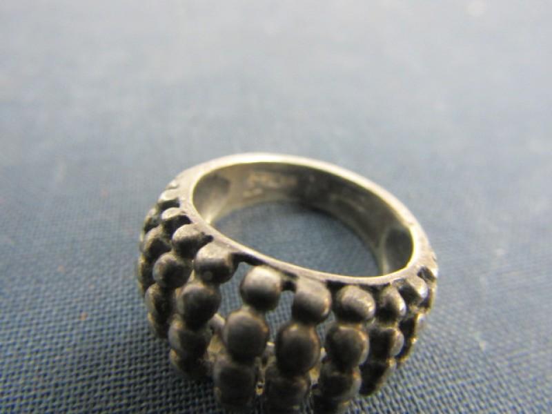Vintage Ring: Sterling Zilver 925, Pareltjesmotieven