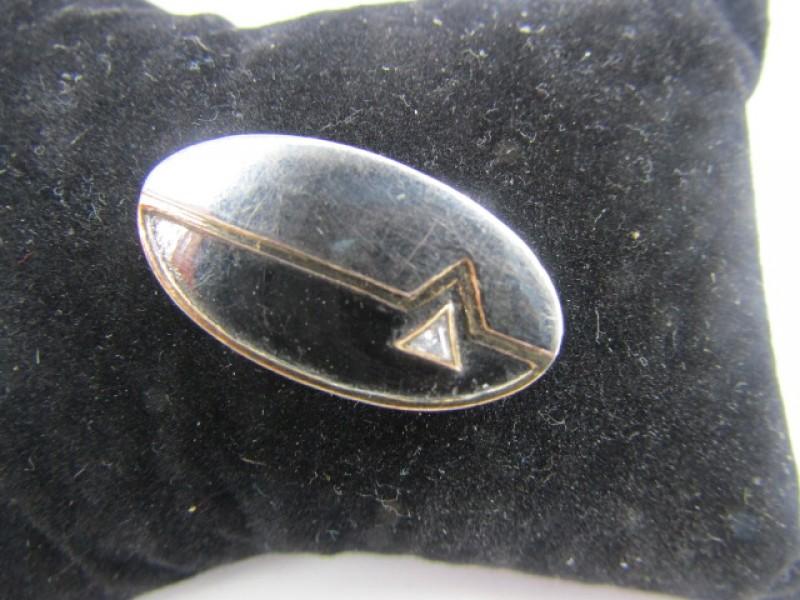 Vintage Broche, Zilver 925, Schitterend Inzet, Goudkleurige accenten